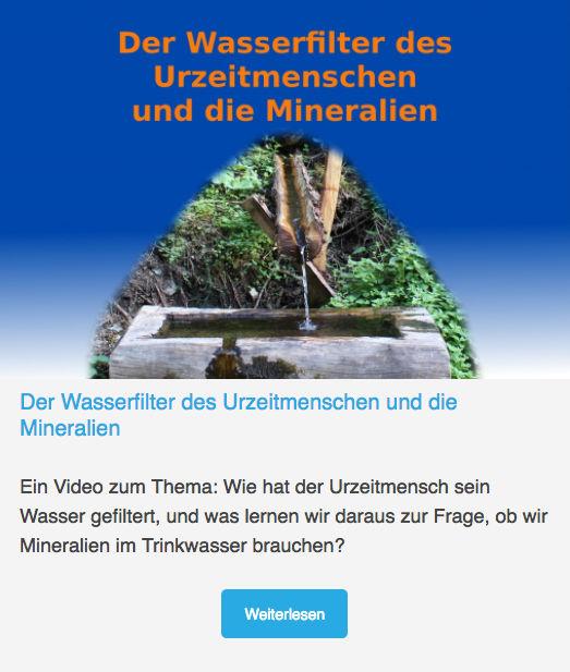 Wasserfilter des Urzeitmenschen